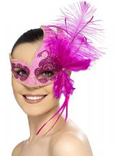 Pink Carnival Angel Eye Mask With Feathers